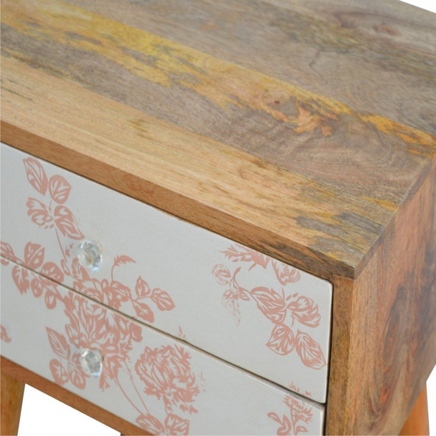 Mango Hill 2 Drawer Pink Floral Screen-Printed Bedside
