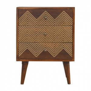 Mango Hill 3 Drawer Bedside With Brass Inlay Drawer Fronts