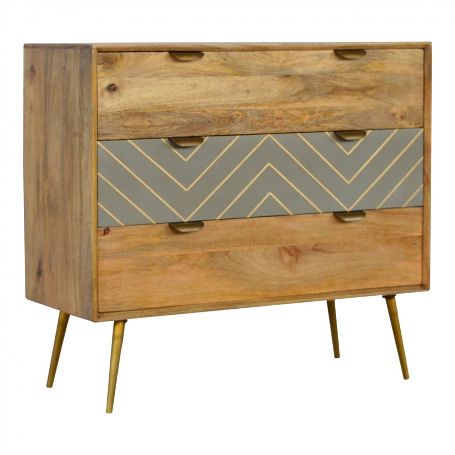 Mango Hill 3 Drawer Nordic Style Sleek Cement Chest with Brass Inlay
