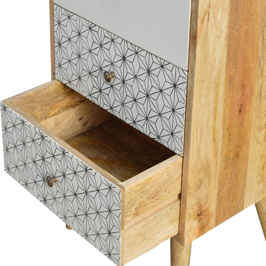 Mango Hill 4 Drawer Tallboy with 2 Geometric Screen Printed Drawer Fronts