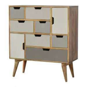 Mango Hill 7 Drawer 2 Door Hand Painted Chest with Grey Cut Out Drawers