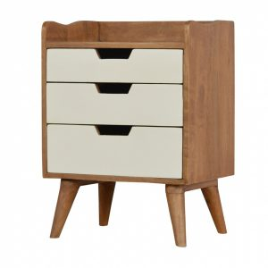 Mango Hill Bedside With 3 White Hand Painted Cut-Out Drawers