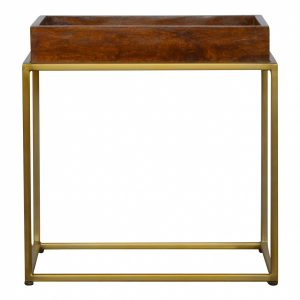 Mango Hill Chestnut Butler Tray Table With Gold Base