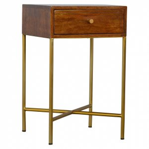 Mango Hill Chestnut End Table With Gold Criss-Cross Base