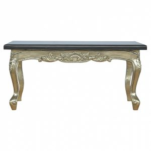 Mango Hill Electro-plated Coffee Table with Black Marble Top