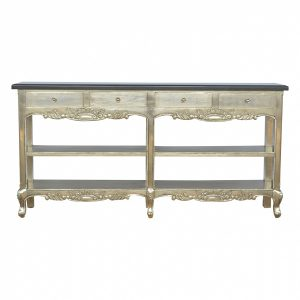 Mango Hill Electro-plated Console Table with Black Marble Top