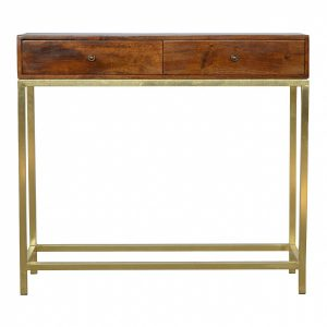Mango Hill Industrial 2 Drawer Console Table with Iron Base