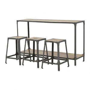 Mango Hill Iron Kitchen Table with 3 Nesting Stools