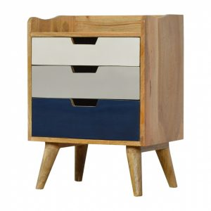 Mango Hill Navy Gradient 3 Drawer Hand-Painted Bedside