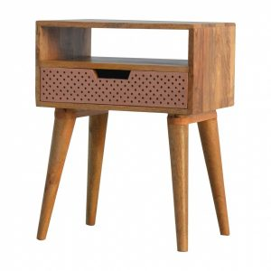 Mango Hill Perforated Copper Front Bedside Table