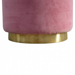 Mango Hill Round Dusty Pink Velvet Footstool with Gold Base