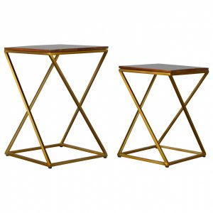 Mango Hill Set of 2 Nesting Tables With Gold Base