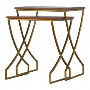 Mango Hill Set of 2 Nesting Tables With Gold Base and Wooden Tops