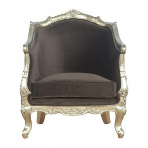 Mango Hill Sleek Brown Armchair with Electro-plated Silver