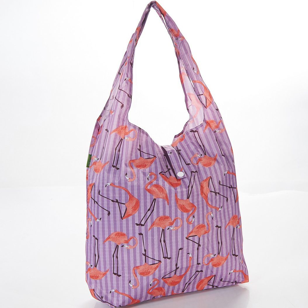 Lilac Flamingo Foldaway Shopper