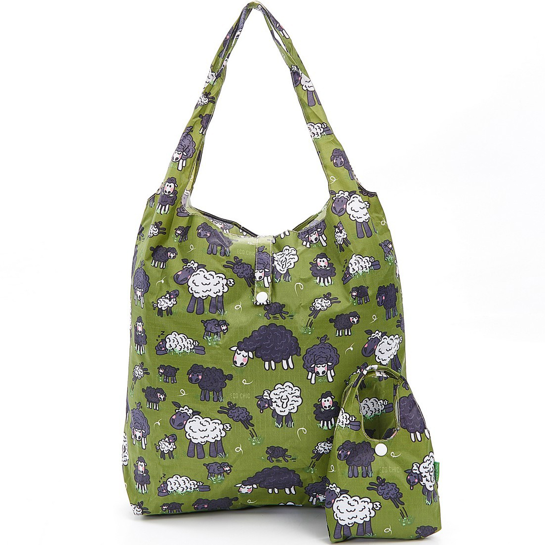 Green Sheep Foldaway Shopper
