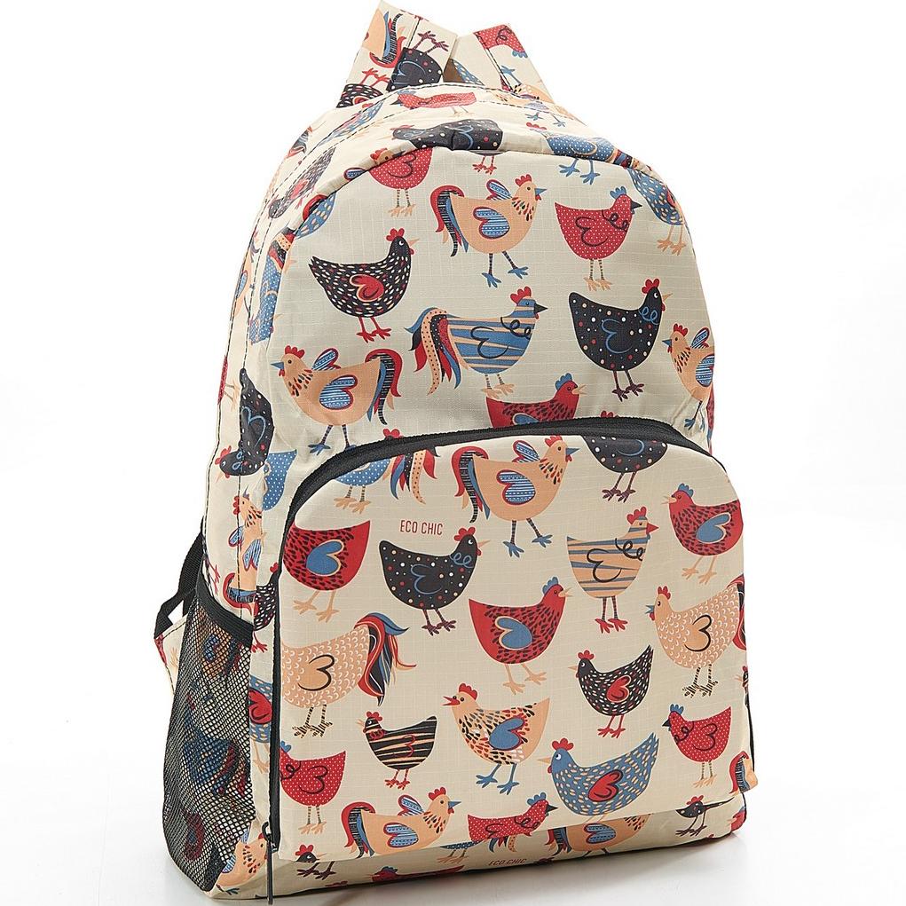 Beige Chicken Foldable Backpack