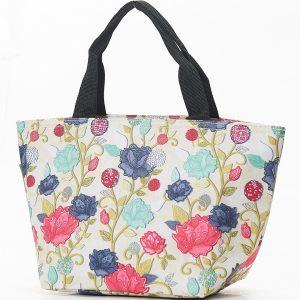 Beige Rose Print Lunch Bag
