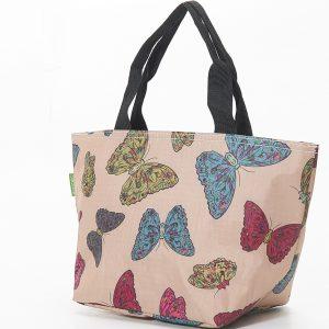 Beige Butterflies Print Lunch Bag