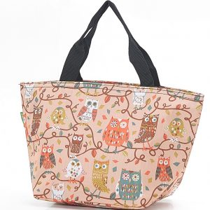 Beige Owl On The Branch Lunch Bag