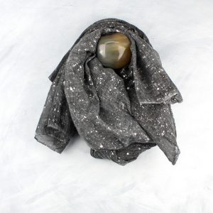 Charcoal Grey With Silver Splatter Print Scarf