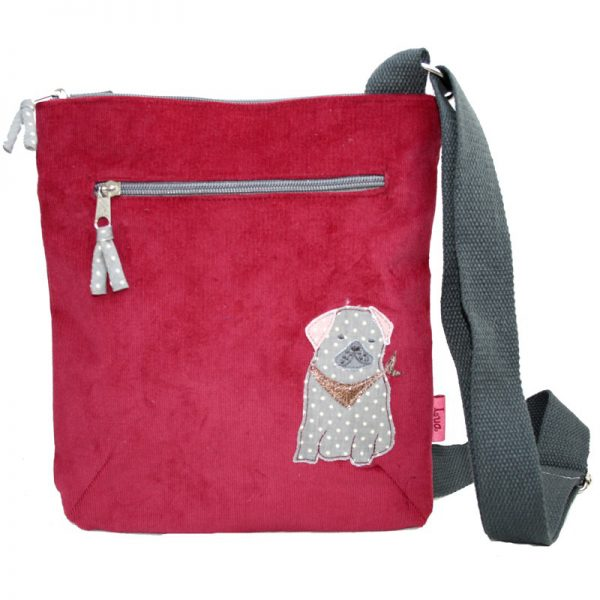 Cherry Red   Pug Cross Body Bag