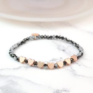 DARK CRYSTAL BEAD & ROSE GOLD | BRACELET