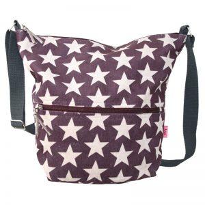 Dark Plum Stars | Cross Body Slouch Bag