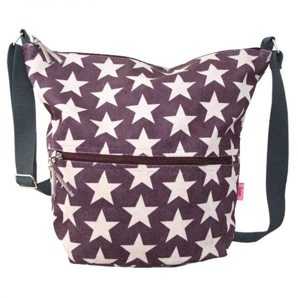 Dark Plum Stars   Cross Body Slouch Bag