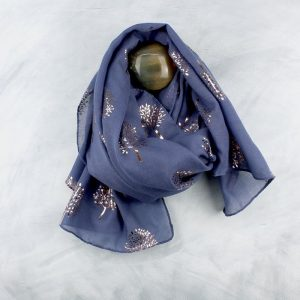 Denim Blue With Metallic Rose Gold Tree Print Scarf