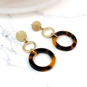 GOLD PLATED | TORTOISE SHELL HOOPS EARRINGS