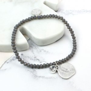 GREY BEAD | FEATHER IMPRINT BRACELET