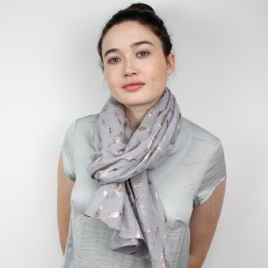 Grey With Rose Gold Metallic Feathers Scarf