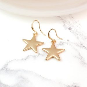 MATT FINISH | GOLD PLATED STAR DROP EARRINGS