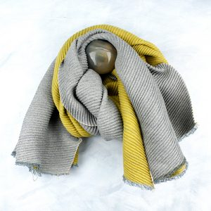 Mustard & Grey Pleated Scarf