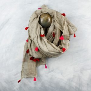 Neutral Cotton With Vibrant Pink Tassels Scarf