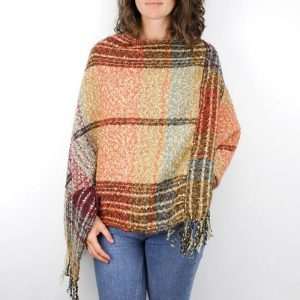 OCHRE MIX | PONCHO WITH TASSELS