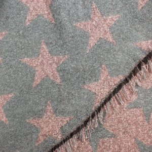 Pink and Grey Reversible Star Scarf