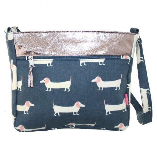 Slate Sausage Dog   Short Cross Body Bag