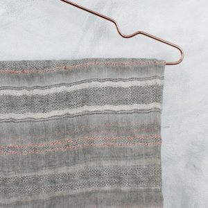 Soft Grey With Rose Gold Stripes Scarf
