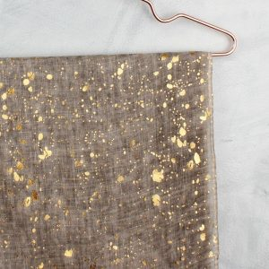 Soft Taupe With Gold Splatter Print Scarf