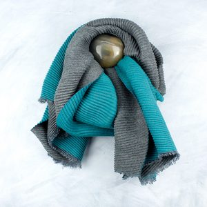 Turquoise & Grey Pleated Scarf