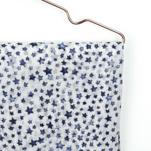 White Cotton With Navy Blue Star Print and Tassels Scarf