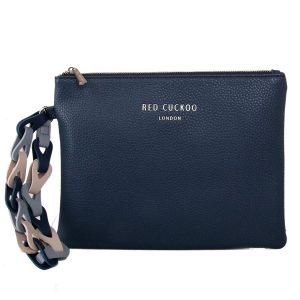 Blue Clutch Bag | With Contrast Wrist Strap
