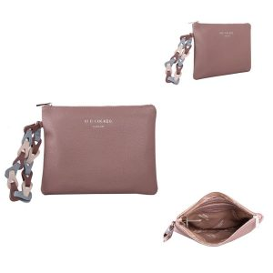 Dusky Purple Clutch Bag | With Contrast Wrist Strap