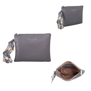 Grey Clutch Bag With Contrast Wrist Strap