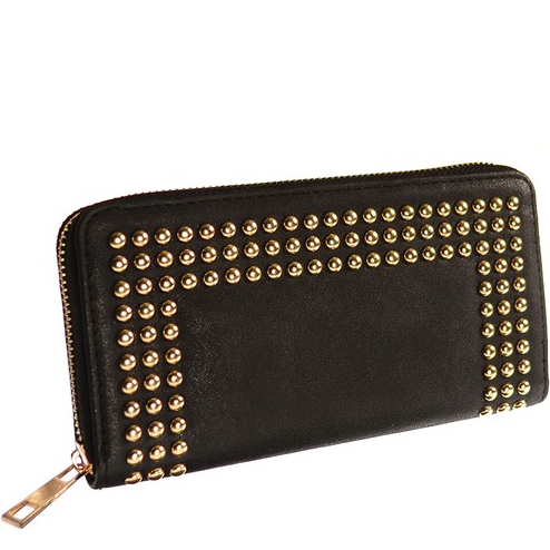 Oblong Gold Stud Noir Purse