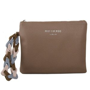 Taupe Clutch Bag | With Contrast Wrist Strap