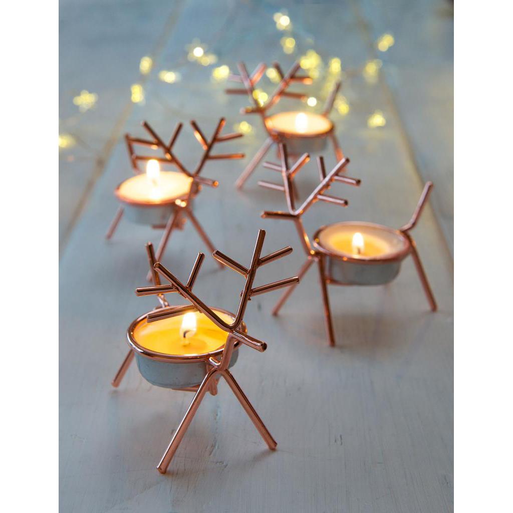 Set Of Four Rudolph Tea Light Holders