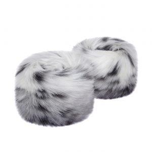 Arctic Leopard | Faux Fur Wrist Warmers